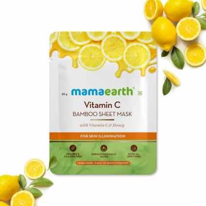 Vitamin C Bamboo Sheet Mask with Vitamin C and Honey for Skin Illumination – 25 g