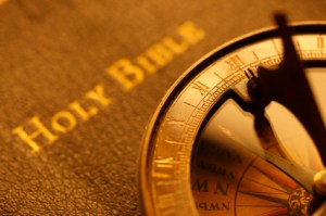 picture of bible with compass