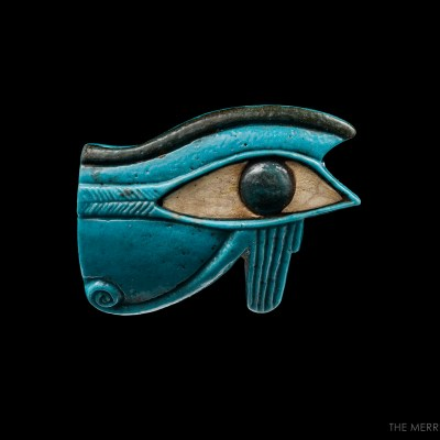 Egyptian Blue Faience Wadjet-Eye Amulet