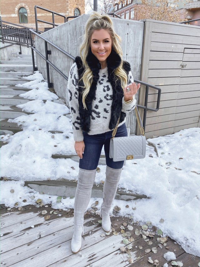 leopard sweater winter outfit