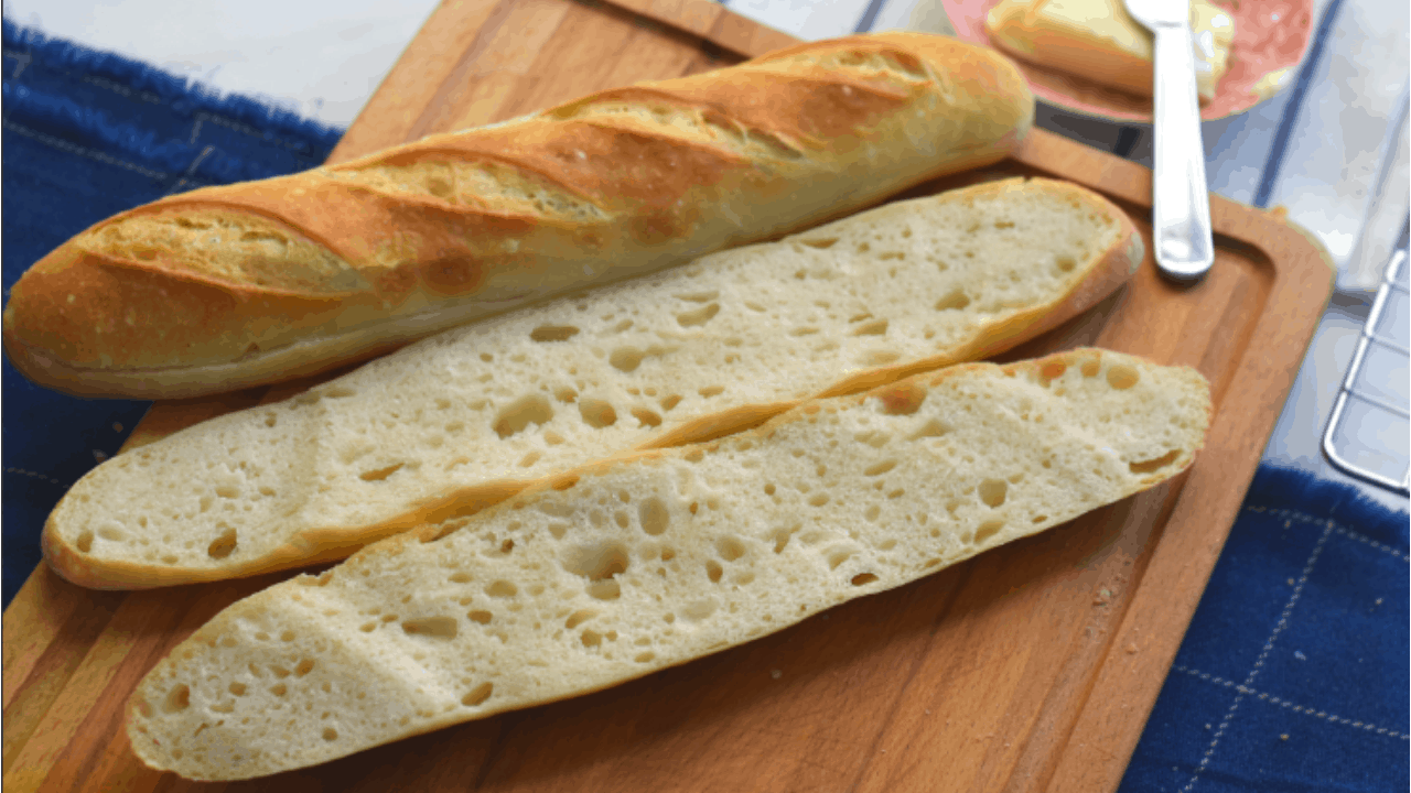 Easy No Knead French Baguette