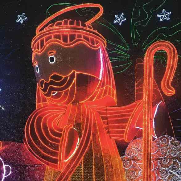 Merry Christmas in Colombia with Christmas lights and origin scenes