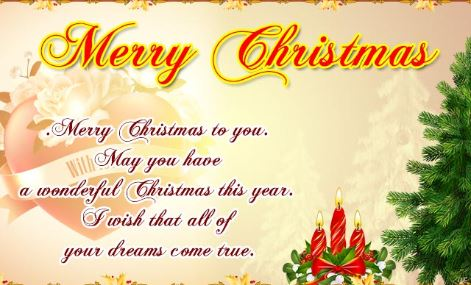 Christmas Greetings For Card