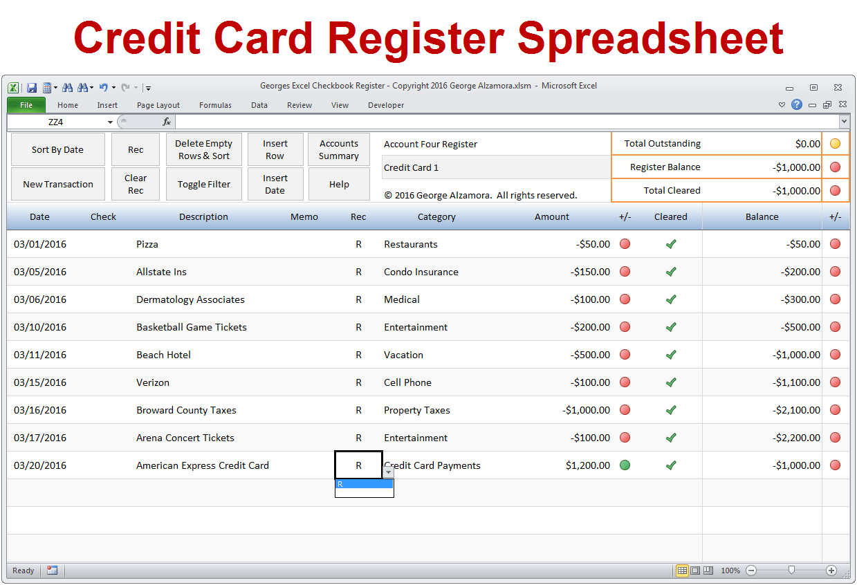 Excel Credit Card Tracker Template