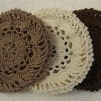 Set of 3 Crocheted Hair Net / Bun Covers Flower Style
