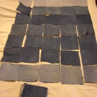 Repurposed Denim Rug Mat Frayed Look
