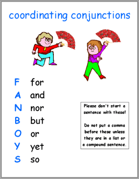 chart for remembering coordinating conjunctions, idea from Jane Bell Kiester Grammar with a Giggle series