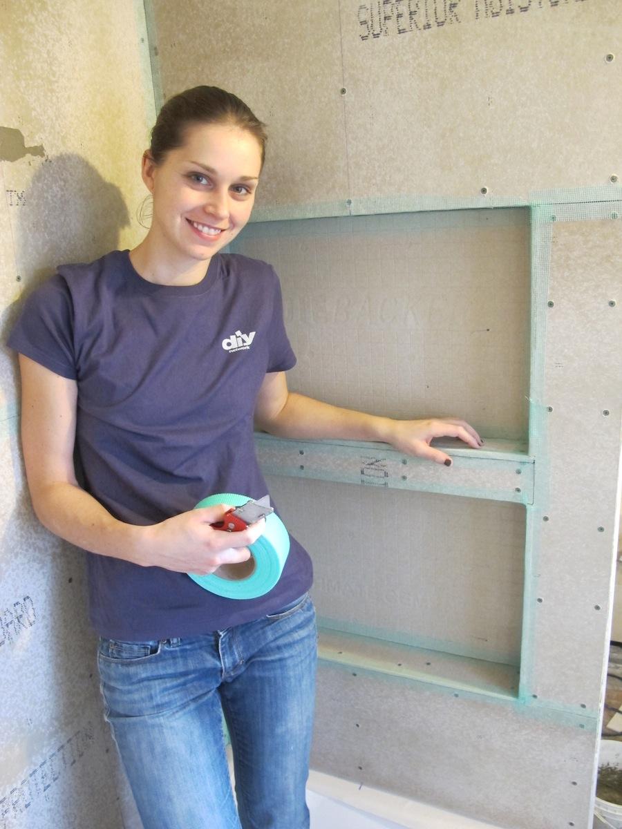 building custom shower shelves during a