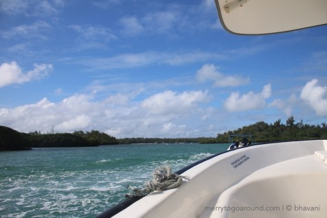 Making our way to Ile aux Cerfs by speedboat.