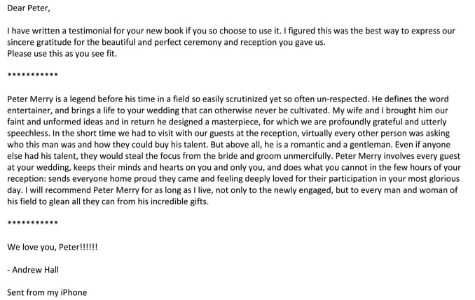 Andrew & Megan Hall's letter of recommendation for Peter Merry of Merry Weddings.