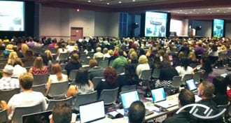 Wedding Entertainment Director® Peter Merry presenting a seminar to over 2,000 wedding professionals at Wedding MBA in September of 2010.