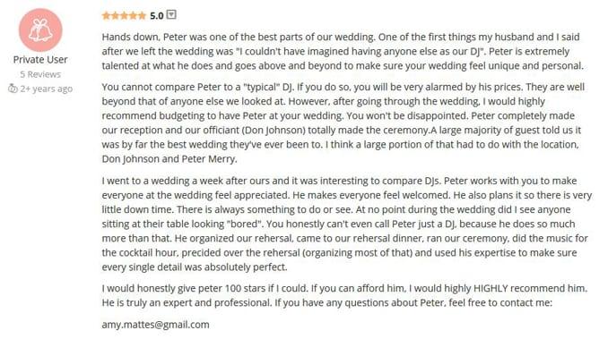 Amy Fossati WeddingWire Review-Gleam