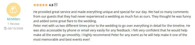 Jeff & Stefani McMillen WeddingWire Review-Gleam