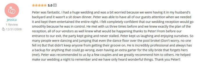 Jessica Reigel WeddingWire Review-Gleam