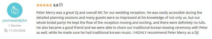 John & Yvonne Seo WeddingWire Review-Gleam
