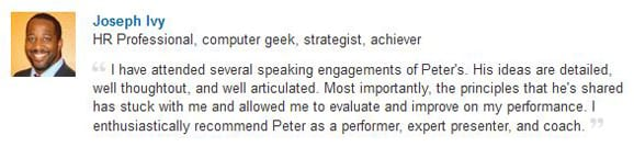 Joseph Ivy LinkedIn Endorsement-Gleam