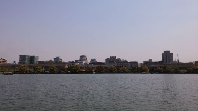 View of Hangzhou from our boat
