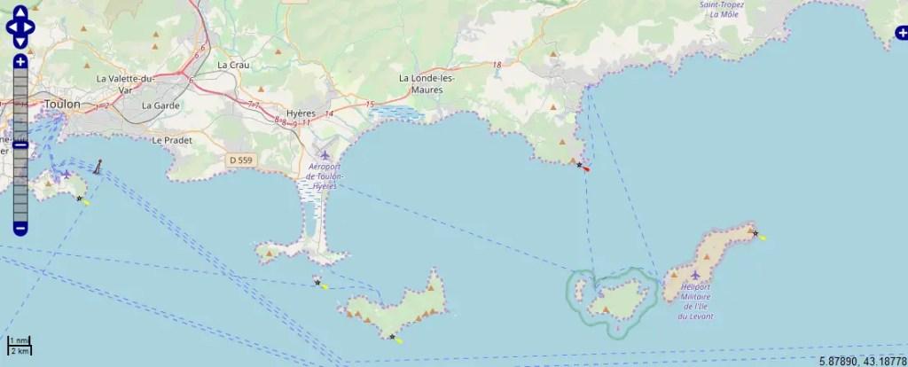 carte marine Hyères et îles d'Or