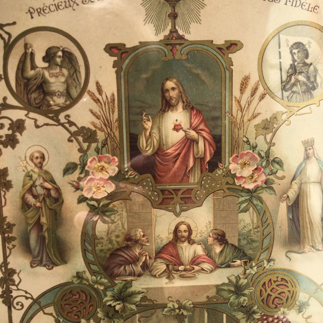 Chromolithographie-religieuse-cadeau-confirmand-sacré-coeur