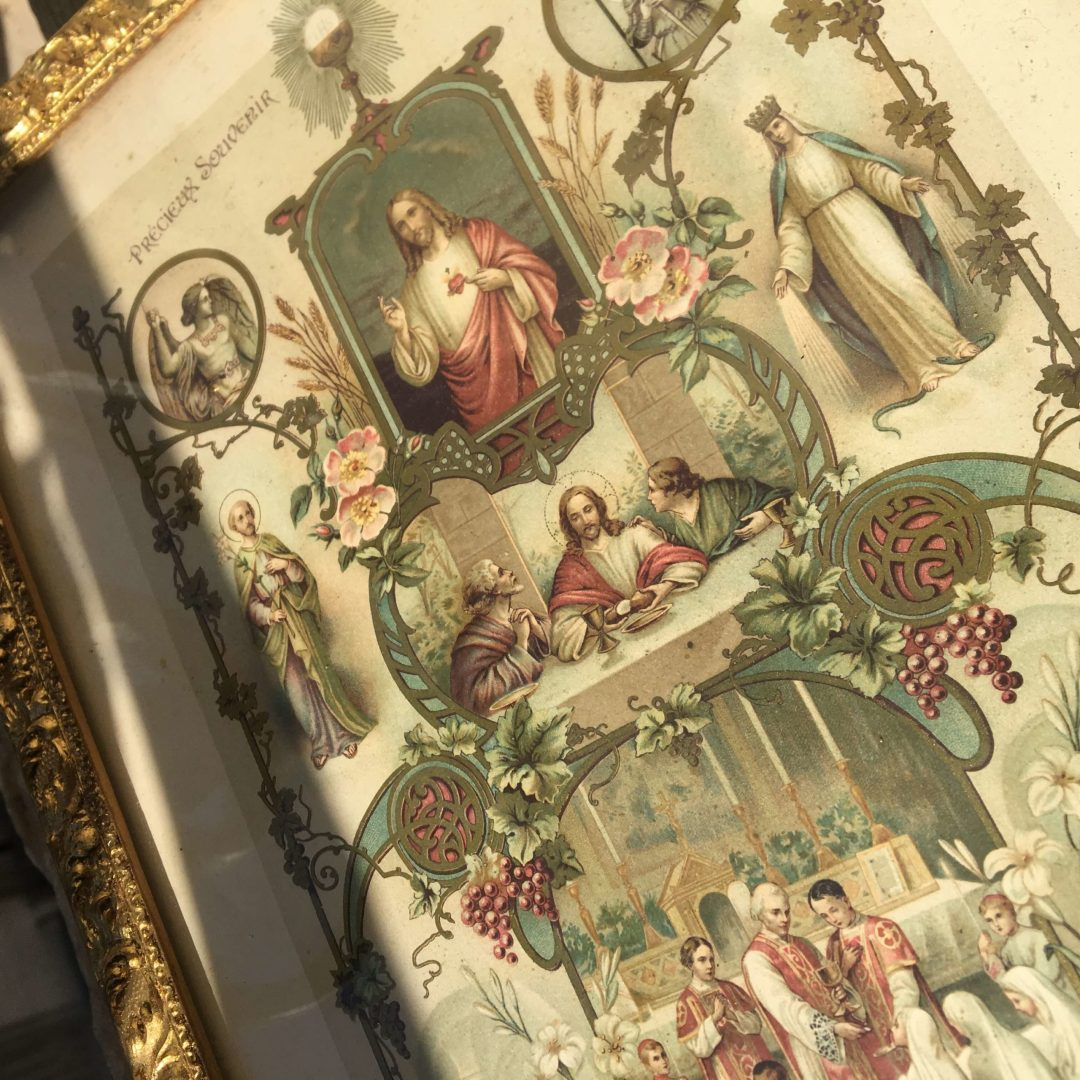Chromolithographie-religieuse-confirmand-sacré-coeur-sacrement-ancien-cadeau-origiinal-antiquité