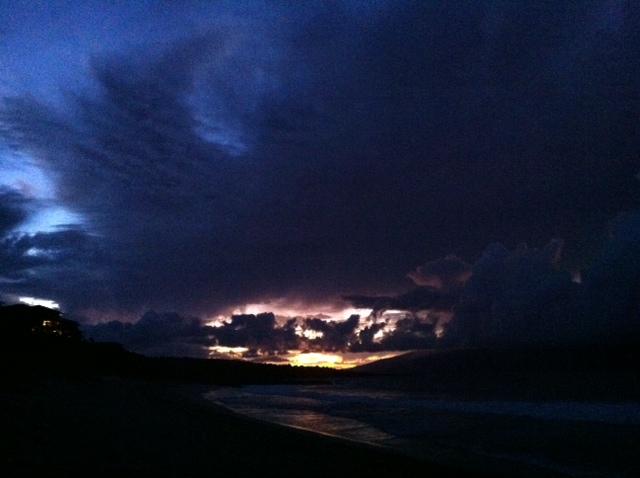 west side beach at dusk