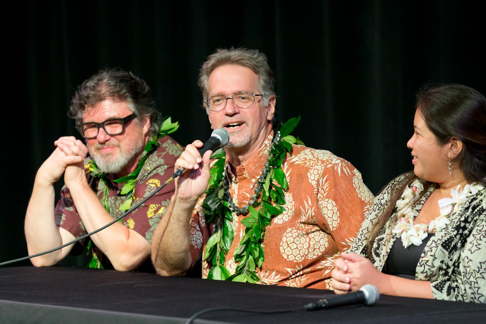 Poet Bob Holman, Ethnographer Kepā Maly, and Pūnana Leo kumu Leilei Ishikawa