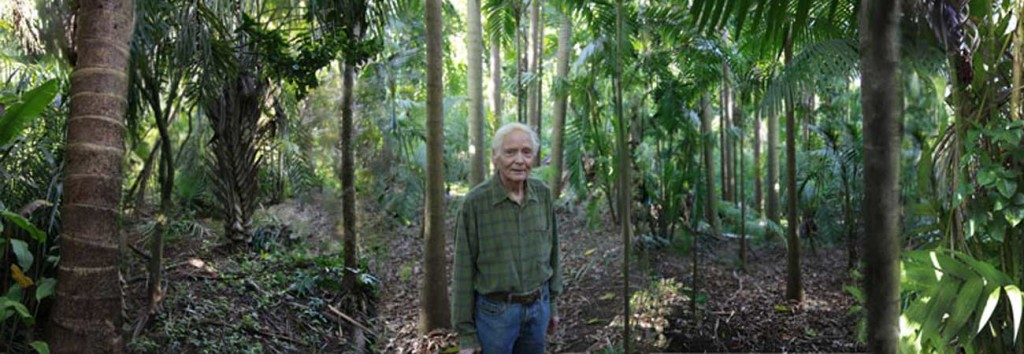 W.S. Merwin in his palm forest. Photo by Tom Sewell used by permission.