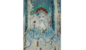 ABSTRACT MERMAID SEA SHELLS FLORIDA SANIBAL ISLE ARTIST MOROCCAN PAINTING CANVAS HOME DECOR LUXE DESIGN