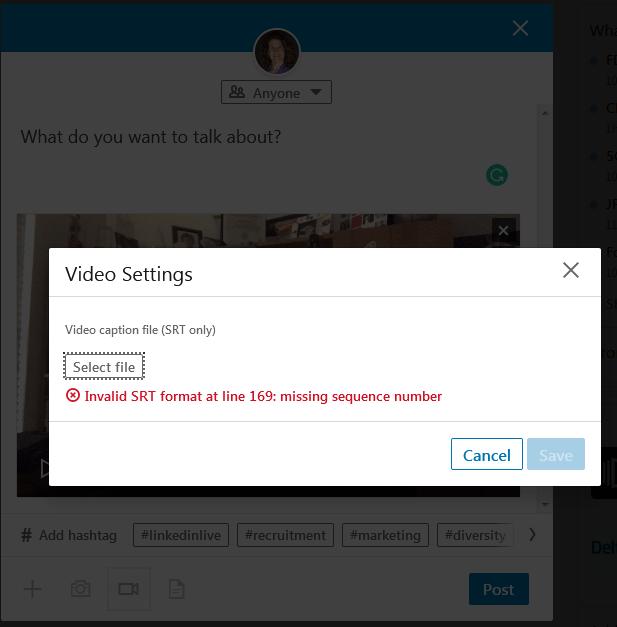 LinkedIn SRT error