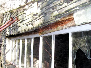 Rotting beam above the windows in the replacement wall, Merz Barn, 2007.