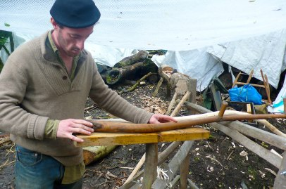 Thomas Branton leads a wood crafts workshop.