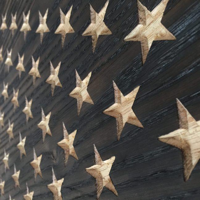 Carved Stars in Burnt Oak Flag