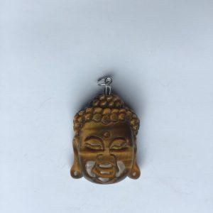 Pendentif en oeil de tigre tete de bouddha