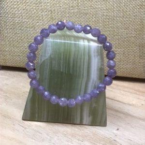 Bracelet perles de lépidolite extra