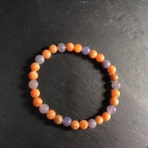 Bracelet calcite orange et lépidolite