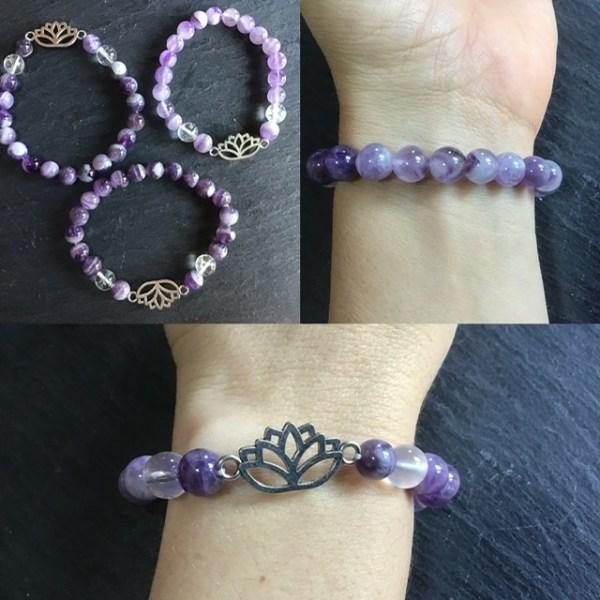 Bracelet perles amethyste chevron