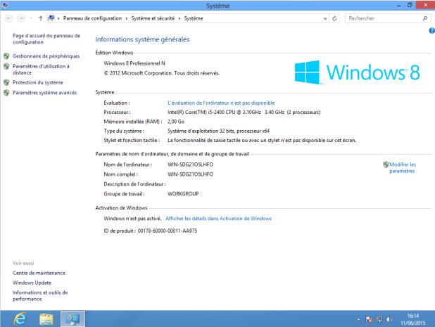 Machine virtuelle - Windows 8 Professionnel 32Bits