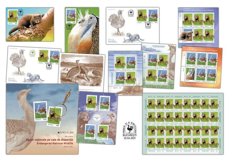 """Emisiunea de mărci poştale """"Specii naţionale pe cale de dispariţie'' - de astăzi, în magazinele Romfilatelia şi online"""