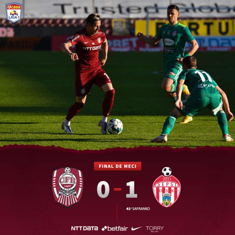 Fotbal - Liga I: Campioana CFR Cluj, învinsă acasă de Sepsi OSK, în play-off