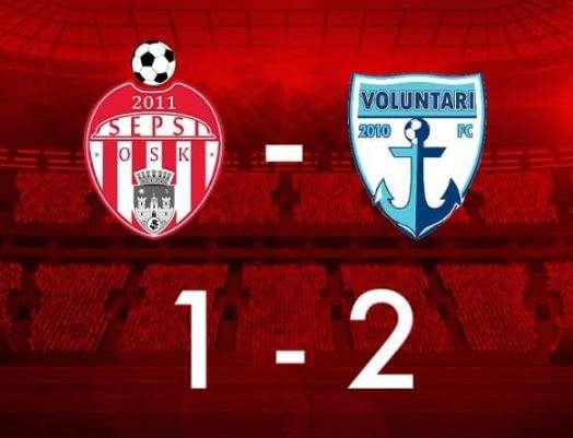 Fotbal: Sepsi OSK Sfântu Gheorghe a pierdut primul meci pe noul său stadion, 1-2 cu FC Voluntari
