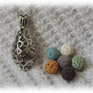 Teardrop Diffuser necklace with 6 colored Lava Stones from Mesa Lavender Farms