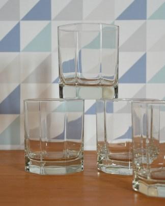 Lot de 5 verres octogonale publicitaire de la marque CODEC.