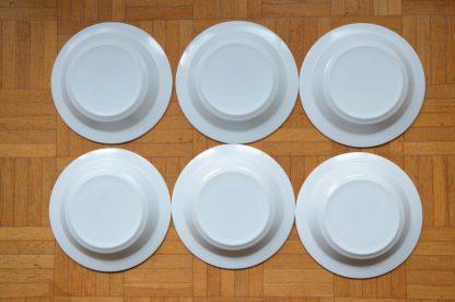 Lot de 6 assiettes creuses en verre opalin de la marque Arcopal, motif fleurs orange et vert.