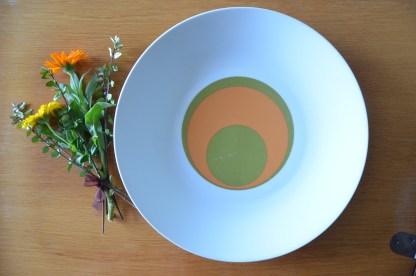 Plat de service creux bareuther waldsassen bavaria germany, motif vintage rond vert et orange