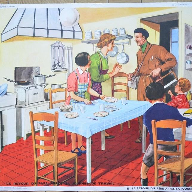 tableau d'élocution vintage, édition rossignol, n°15, le Père rentre du travail