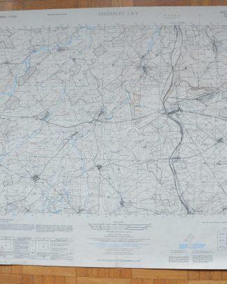 Carte de Chambley 1&2. Dressé par l'Army Map Service (AM), Corps of Engineers, US Army. Carte de France 1:25,000. La carte originale établie d'après les levés sur le terrain de 1907-1908, révisée en 1946. Reproduite en 1951. Carte écrite en français et en anglais.