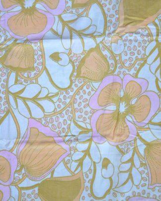 Taie d'oreiller vintage en coton, motif de fleur violet pâle, orange et vert et petits grains de café.
