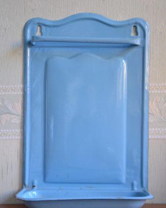 Porte-ustensiles de cuisine en émail bleu, fabriqué en Belgique.