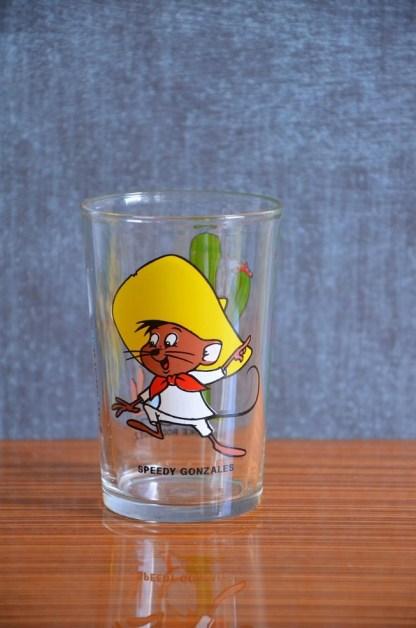 verre à moutarde Speedy Gonzales en verre, année 1984