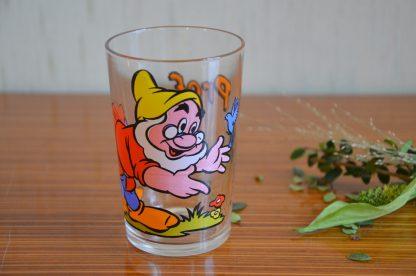 Verre à moutarde Walt Disney, Prof de Blanche-Neige et les 7 nains. Verre de 10 cm de haut et 6.6 cm de diamètre.